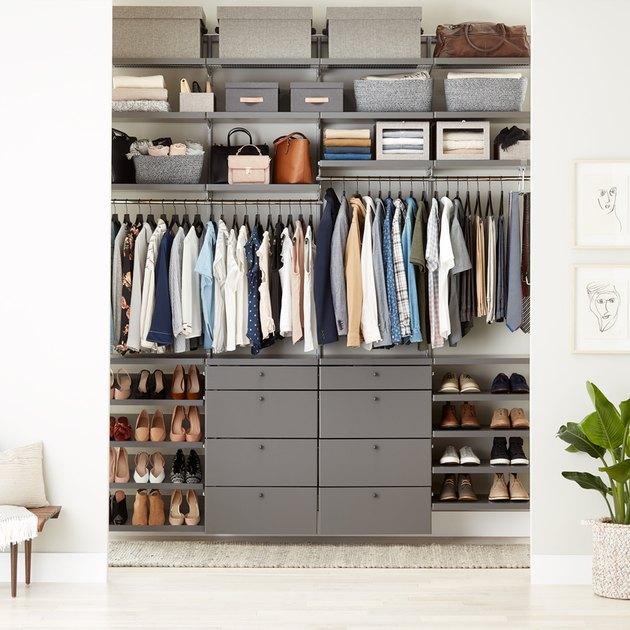 reach-in closet with drawer storage