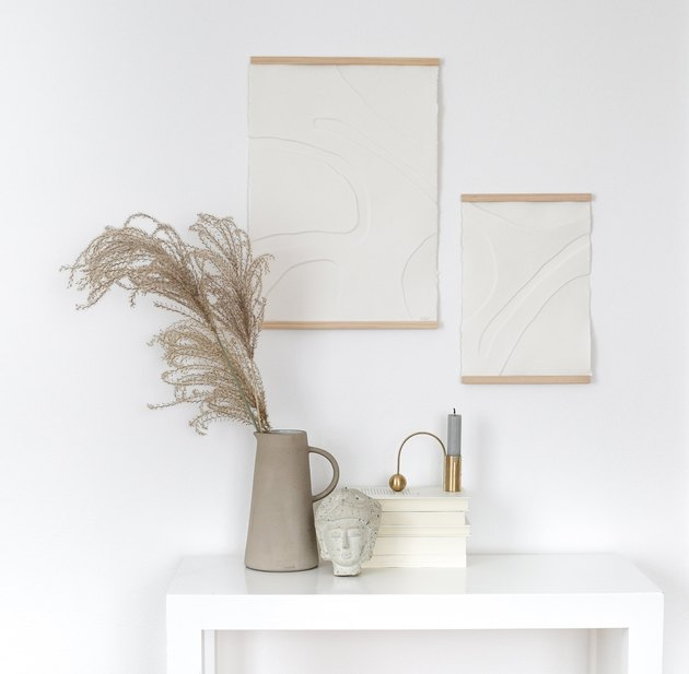 DIY minimalist art with white on white paper art