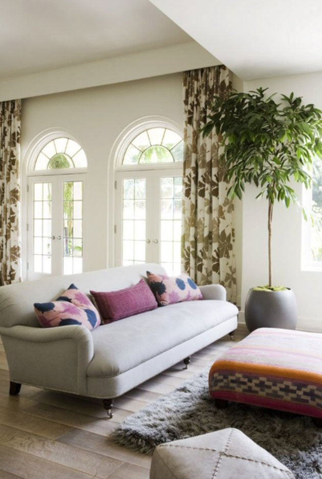 living room curtain idea patterned fabric