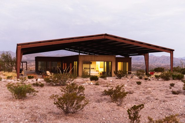 desert modern home with outer metal structure for shade