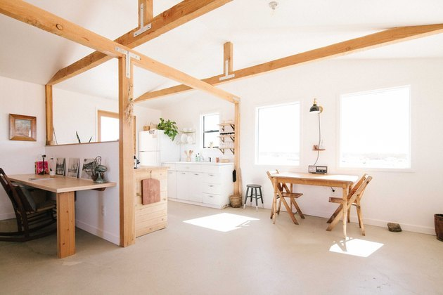open beams and kitchen layout homesteaders cabin in joshua tree