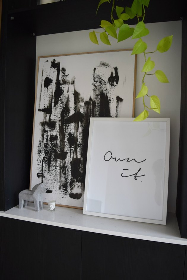 DIY minimalist art with black and white abstract