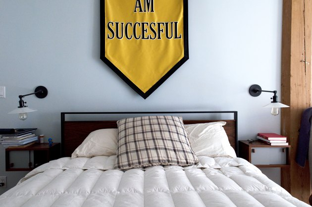 Bed with banner over the bed