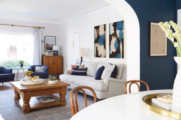 rustic family room ideas with blue accent walls and wood coffee table