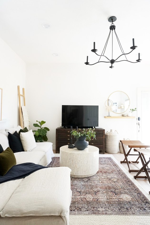 rustic family room ideas black chandelier and beige couch