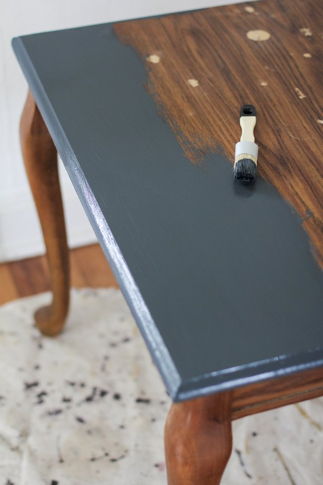 Chalk painting an old end table