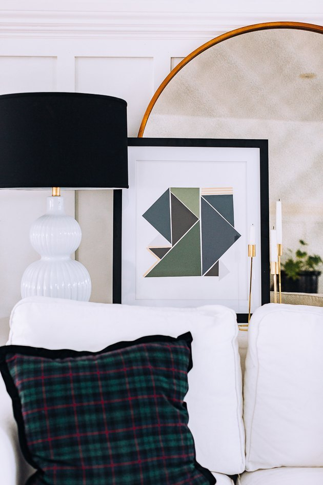 DIY minimalist art with soothing blue/green triangles