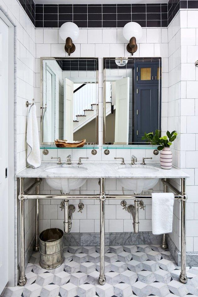 art deco tile in bathroom with marble mosaic flooring