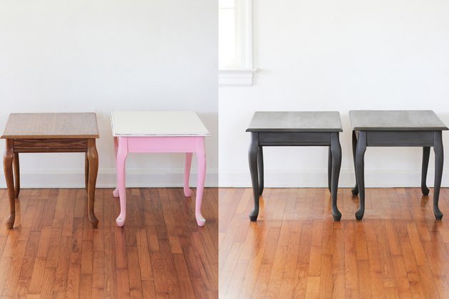 Before and after of end tables painted with chalk paint