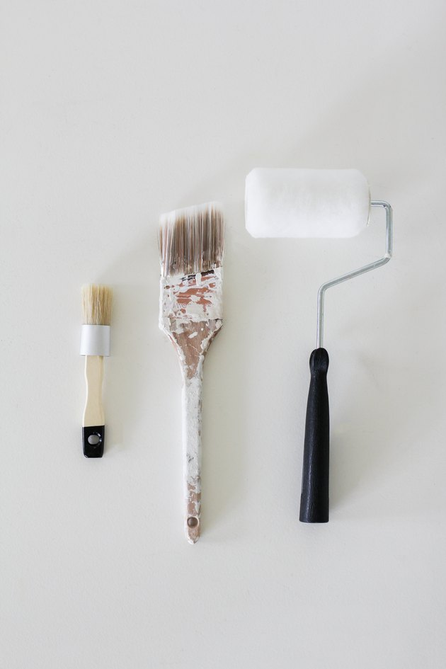 Chalk paint brush, flat brush and paint roller