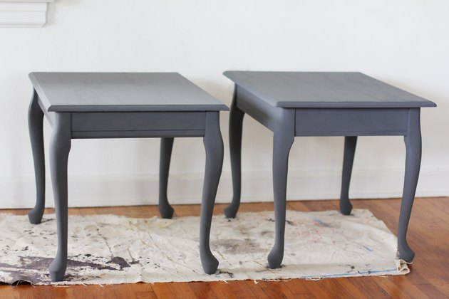 Two end tables painted with chalk paint