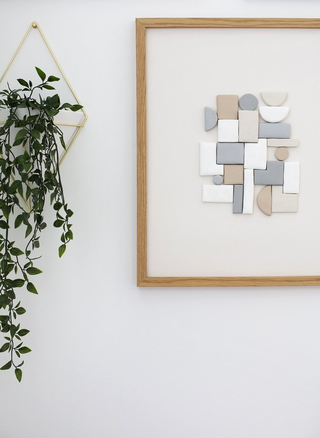 DIY minimalist art with 3D shapes in muted colors