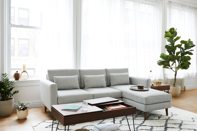 gray upholstery sofa in living room