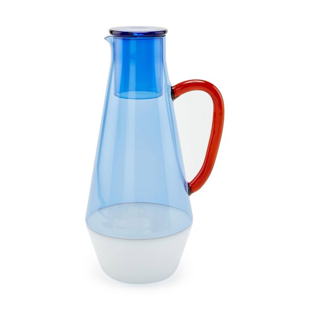 two tone tinted glass pitcher