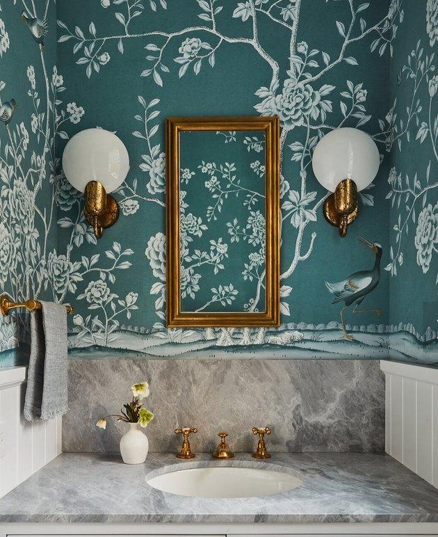 elegant bathroom lighting idea with vintage inspired sconces