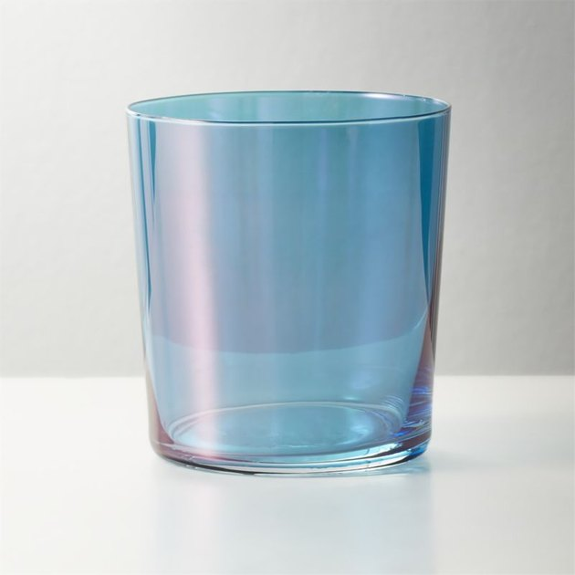 tinted blue glass tumbler