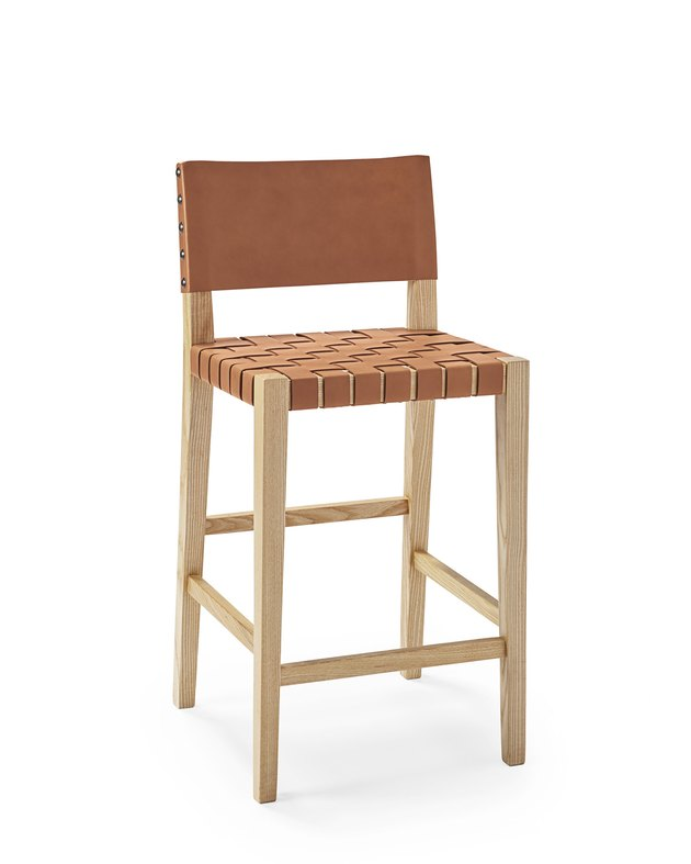 Tan woven leather strap barstool