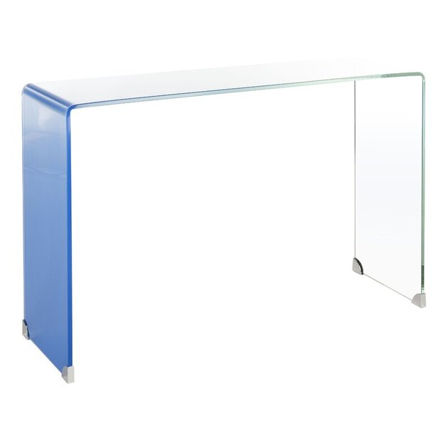 tinted blue glass console table