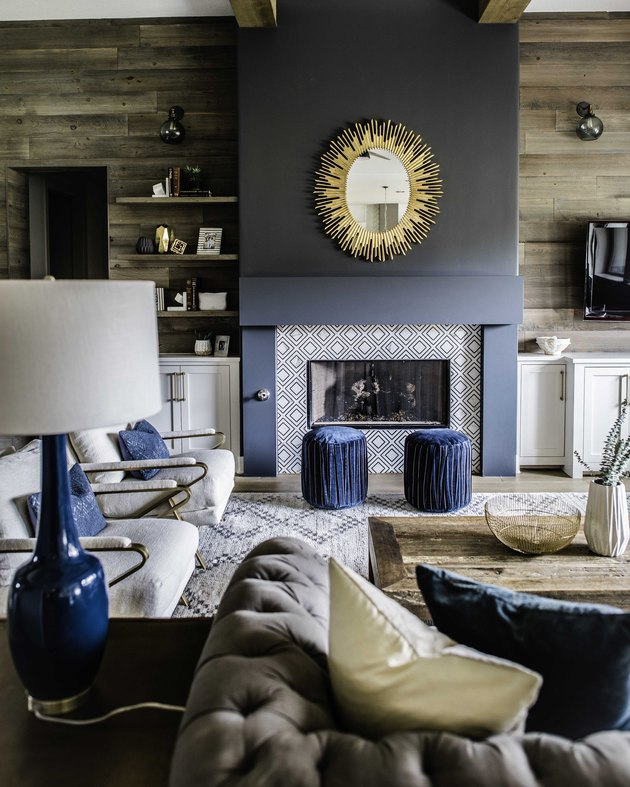 blue painted fireplace surround