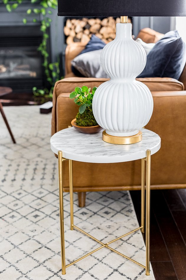 IKEA side table DIY with marble contact paper