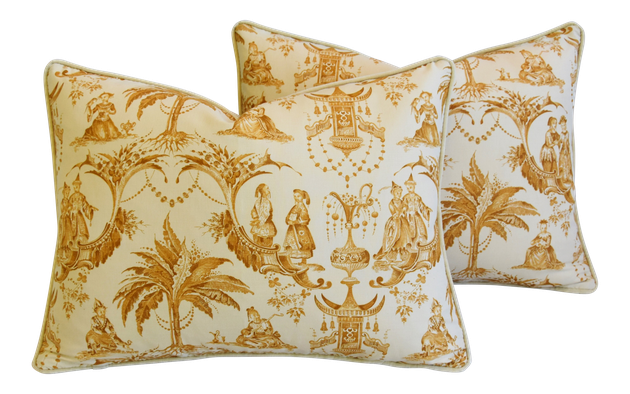 Clarence House Chinoiserie Toile Fabric & Velvet Feather Down Pillows