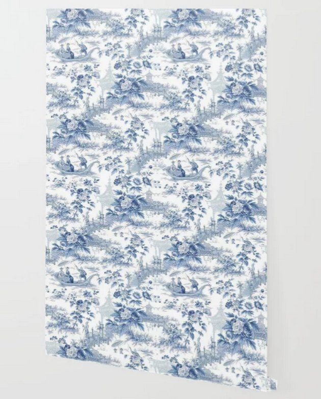 Society 6 Powder Blue Chinoiserie Toile Wallpaper