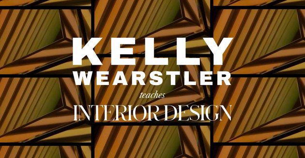 """screenshot of video with text """"Kelly Wearstler teaches interior design"""""""