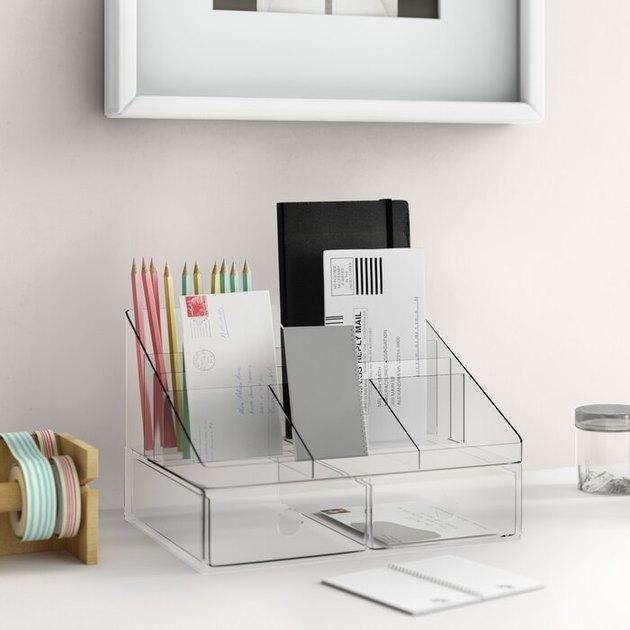 clear desk organizer with drawer