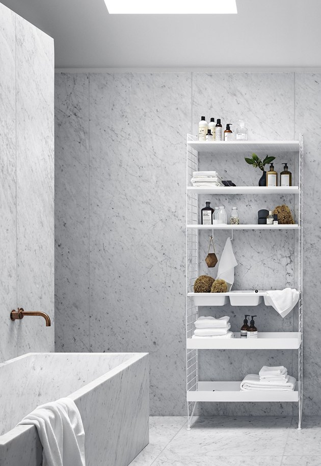 luxury marble bathroom with minimalist bathroom storage