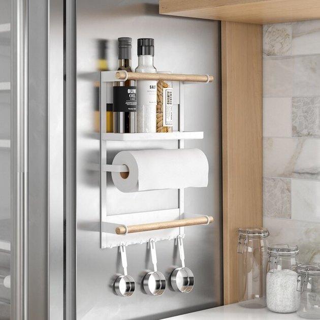 white and light wood kitchen organization rack