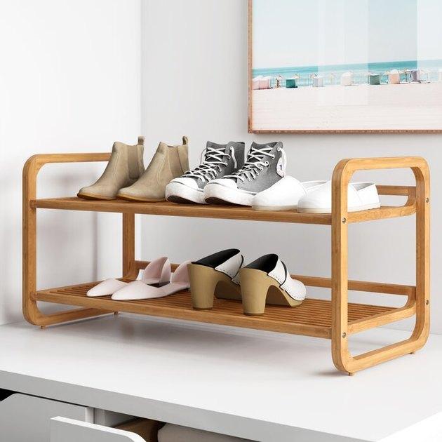 light wood two-tier shoe rack