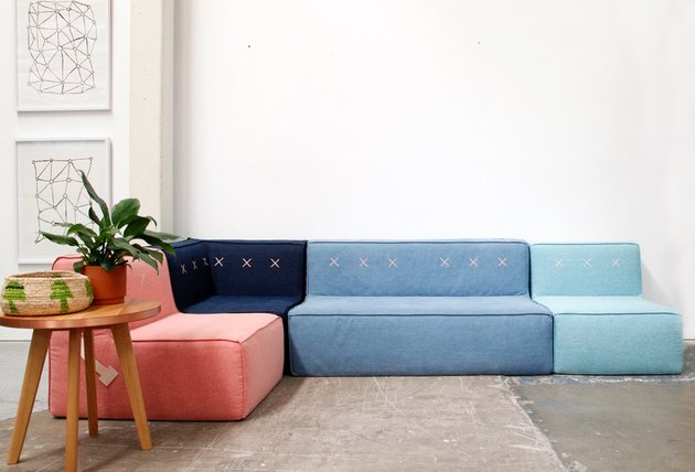 Australian brand Koskela modular sofa in pink and blue