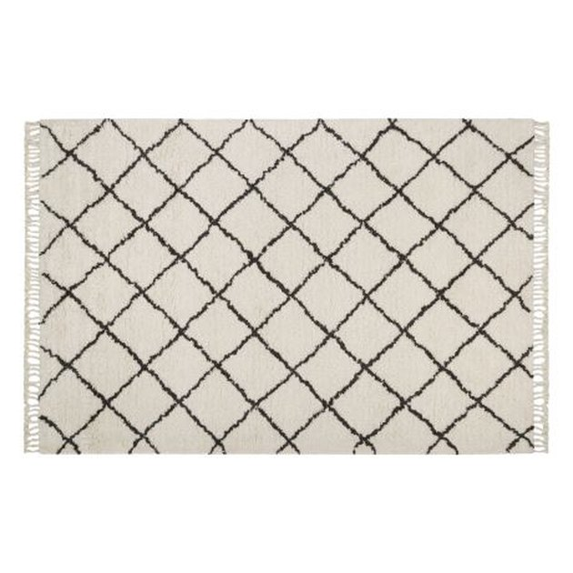 Patterned white rug