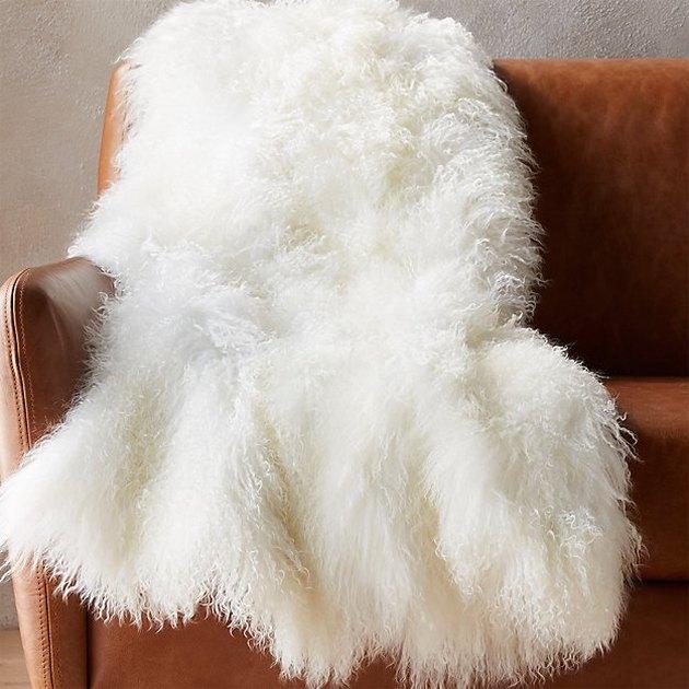 Mongolian sheepskin white throw