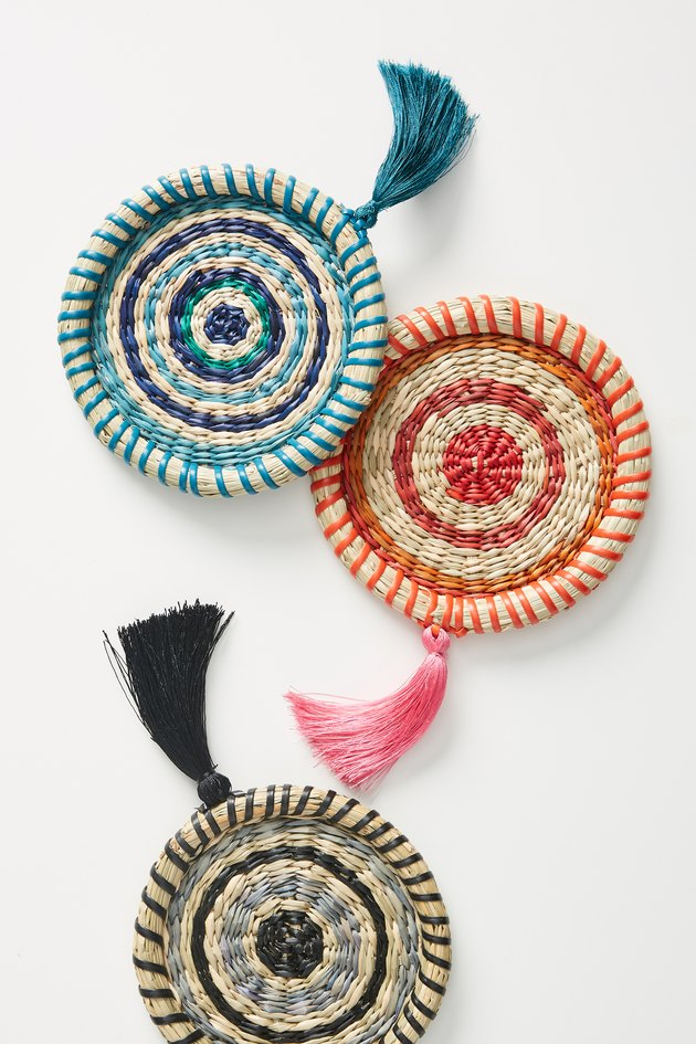 colorful woven coasters