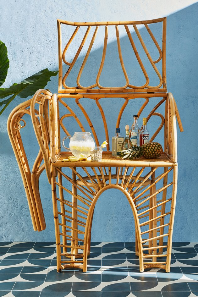 rattan elephant bar cart