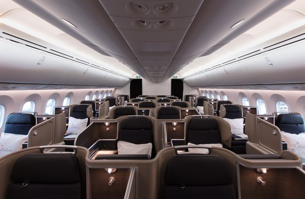business-class cabin on a plane