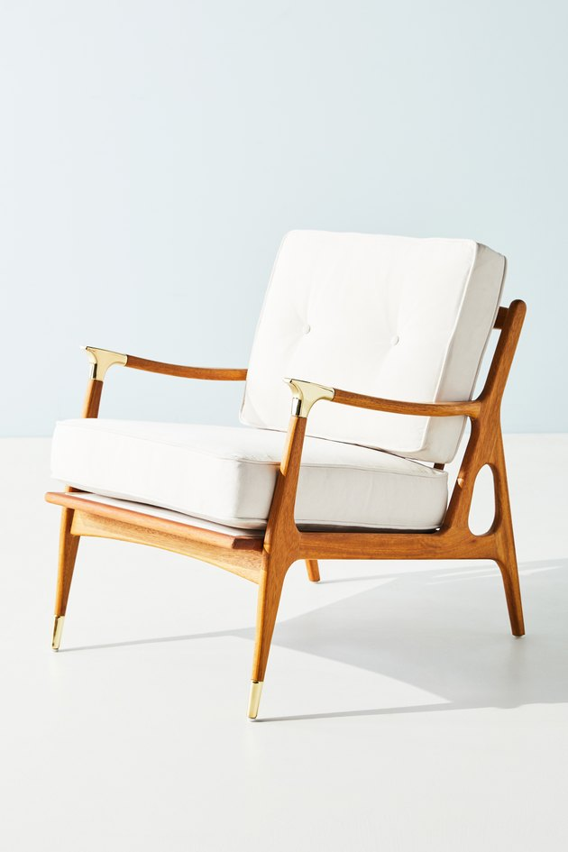 wood chair with white cushions