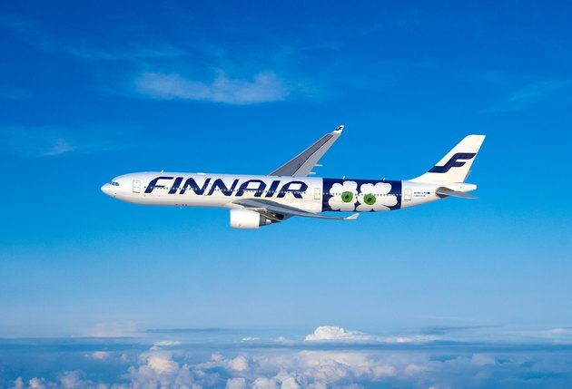 Finnair plane in the sky