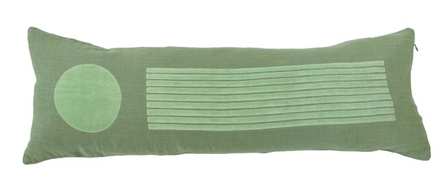 green lumbar pillow