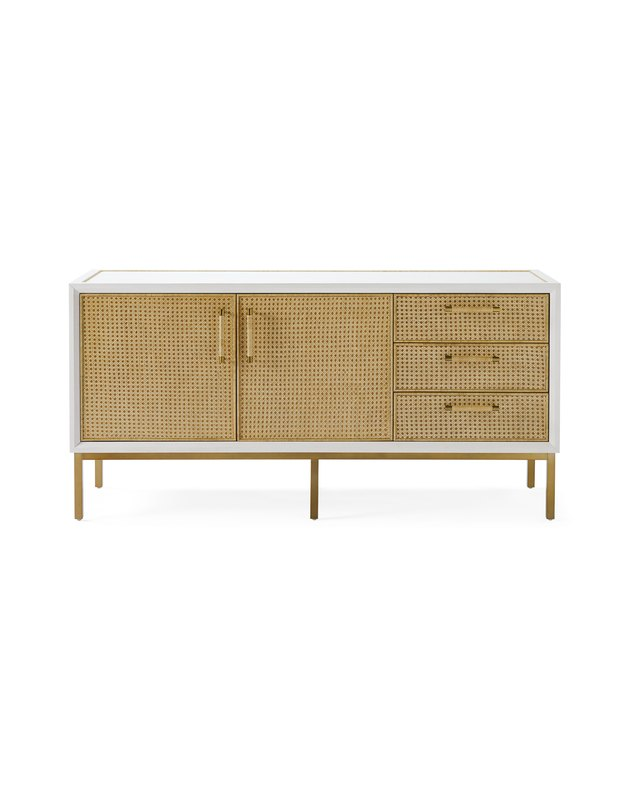cane-paneled console