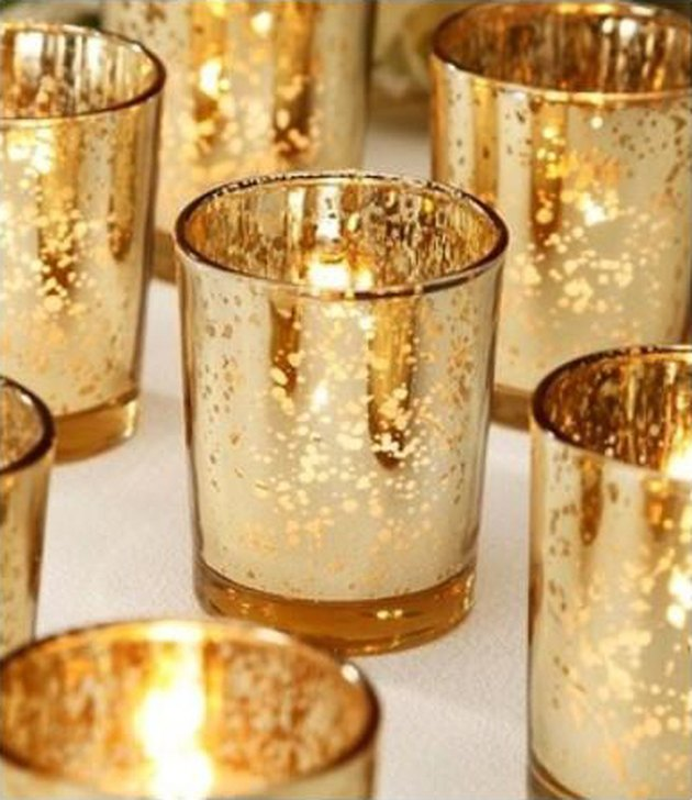 art deco themed party idea with mercury gold candle votives