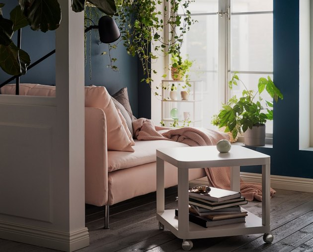 IKEA living room minimalist furniture square side table and pink couch