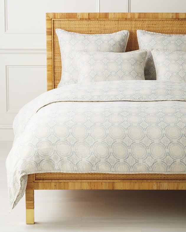 blue and white patterned duvet