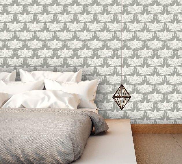 geometrical bird patterned wallpaper