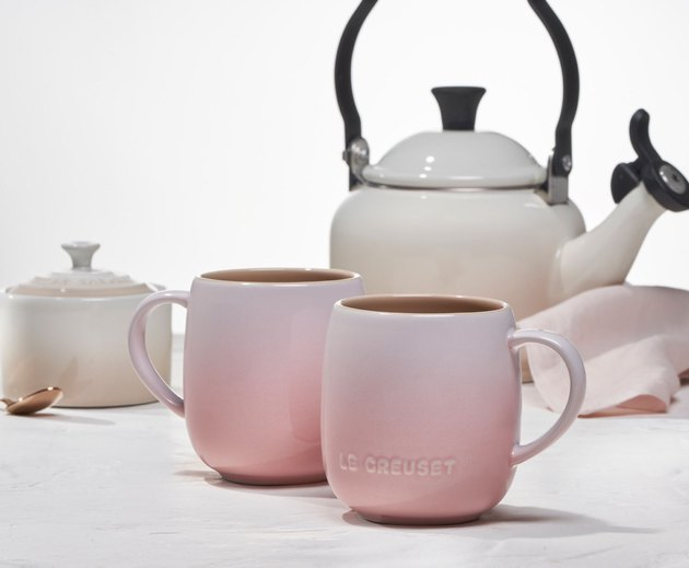 mugs, kettle, and other dishes from Le Creuset