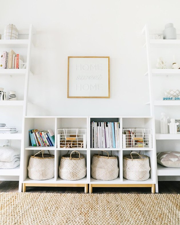 Minimalist toy storage idea with cubbies and baskets