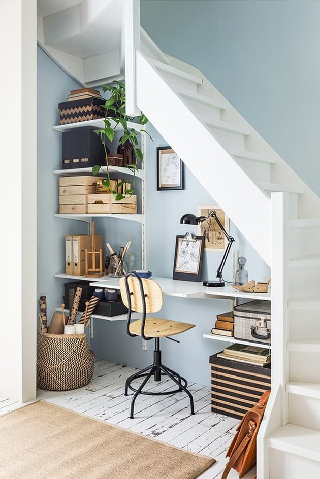 modern office under the stairs living room corner idea