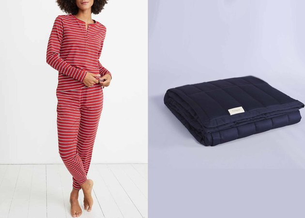 casper blanket/marine layer pajamas