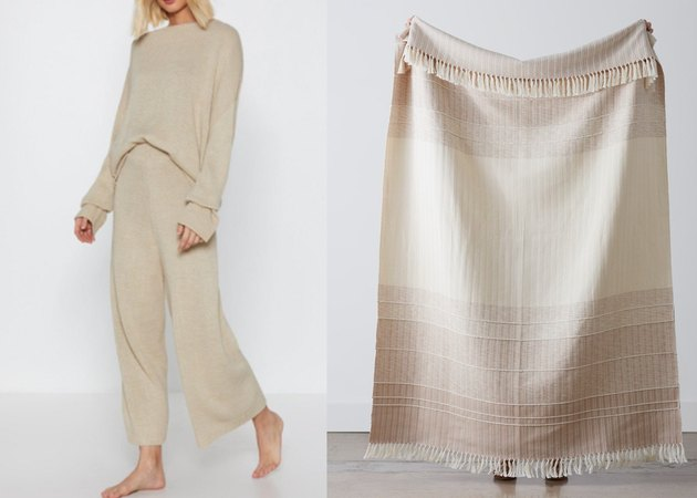 Nasty Gal sweats/The Citizenry blanket